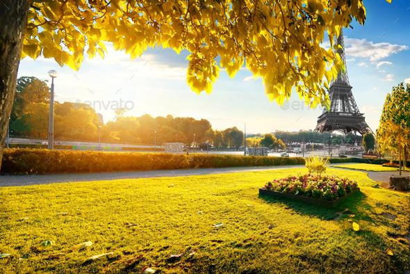 Gardens in Paris in autumn - Stock Photo - Images