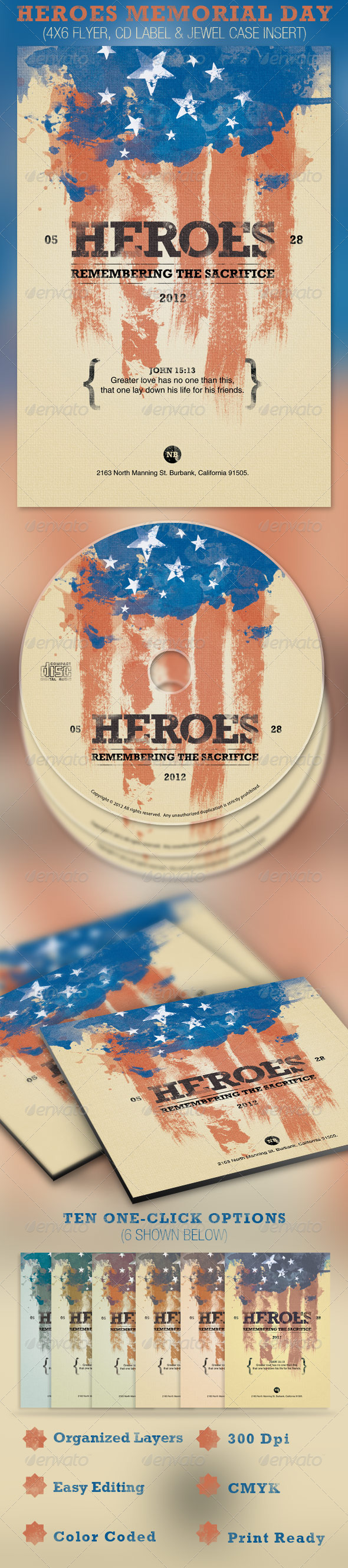 Heroes Memorial Day Flyer and CD Template - Church Flyers