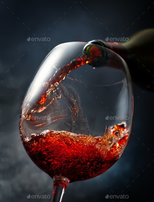 Wine on smoky background - Stock Photo - Images