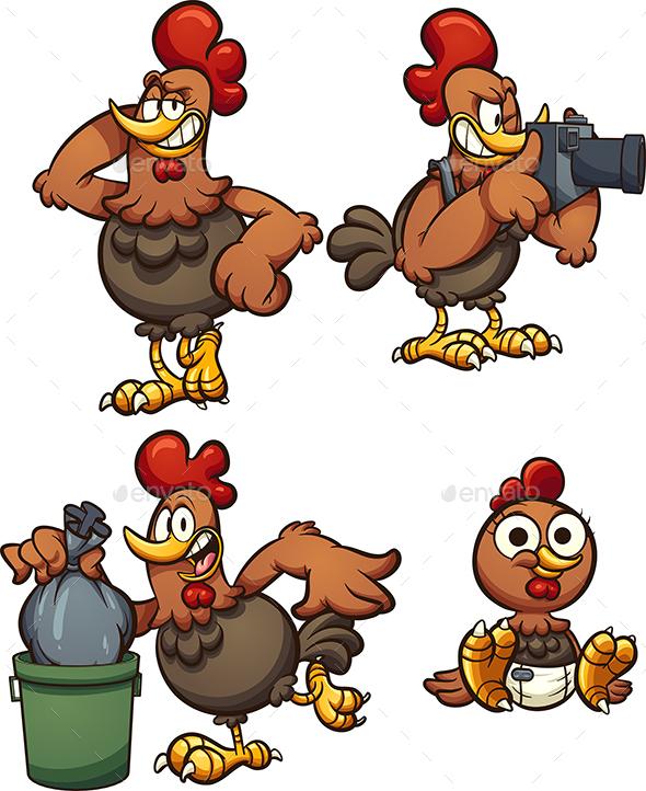 Cartoon Chicken - Animals Characters