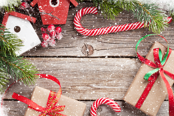 Christmas Background Pic.Christmas Background With Fir Tree And Gifts