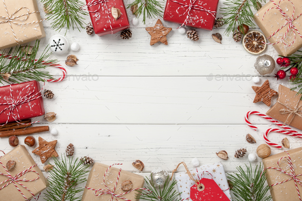 Christmas Ornament Background.Christmas Decoration And Gift Boxes Background