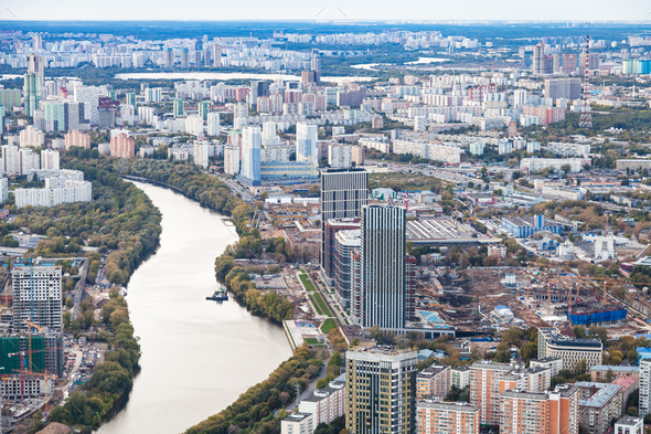west of Moscow city with Moskva river in dusk - Stock Photo - Images