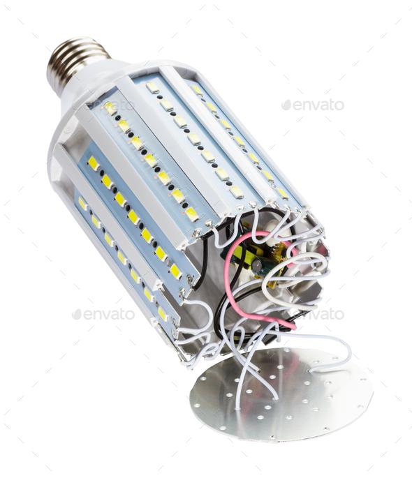 disassembled LED bulb corn lamp isolated - Stock Photo - Images