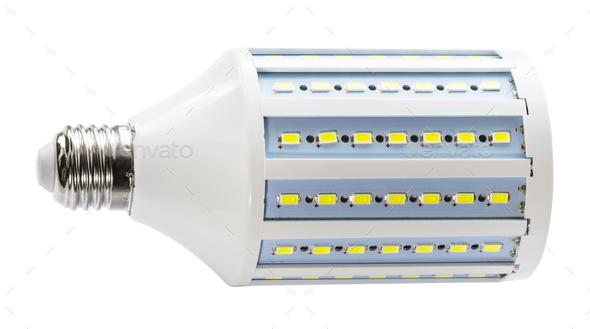 studio LED bulb corn lamp isolated on white - Stock Photo - Images