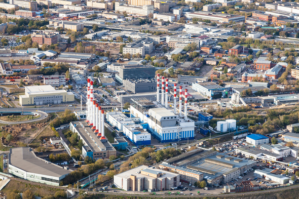 above view of thermal power plant in Moscow city - Stock Photo - Images