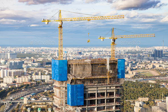 construction of high-rise building in Moscow city - Stock Photo - Images