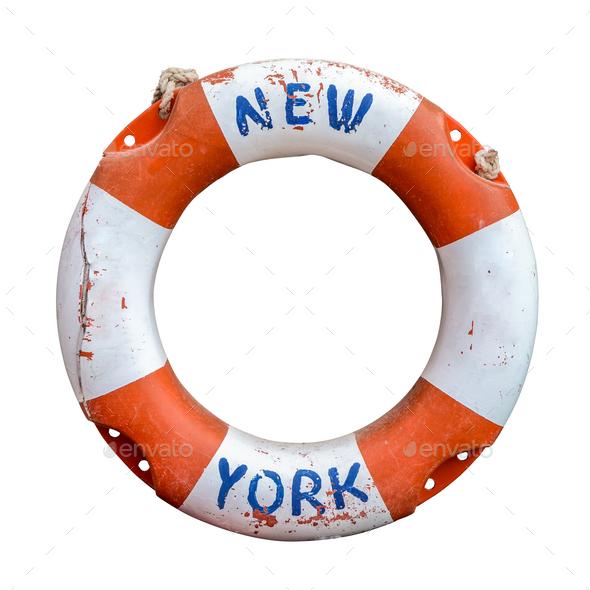 Retro New York Ferry Lifebuoy - Stock Photo - Images