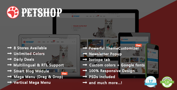Pet Shop - Animal Care Responsive Prestashop 1.7 & 1.6 Theme