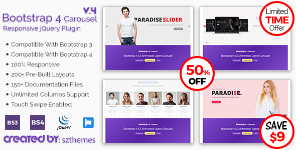 Bootstrap 4 Carousel Responsive jQuery Plugin - CodeCanyon Item for Sale