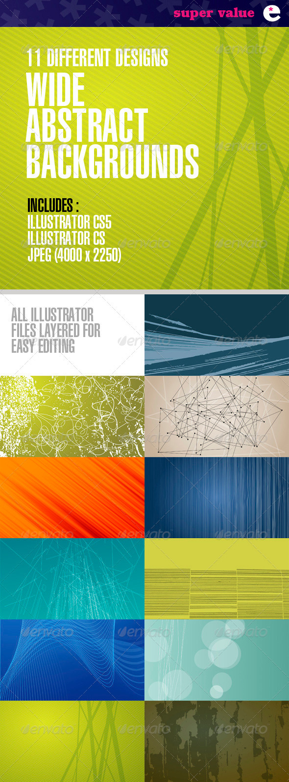 Wide Abstract Backgrounds – Pack of 11 Designs - Backgrounds Decorative