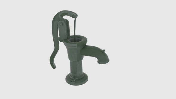 Old Green Hand Water Pump - 3DOcean Item for Sale
