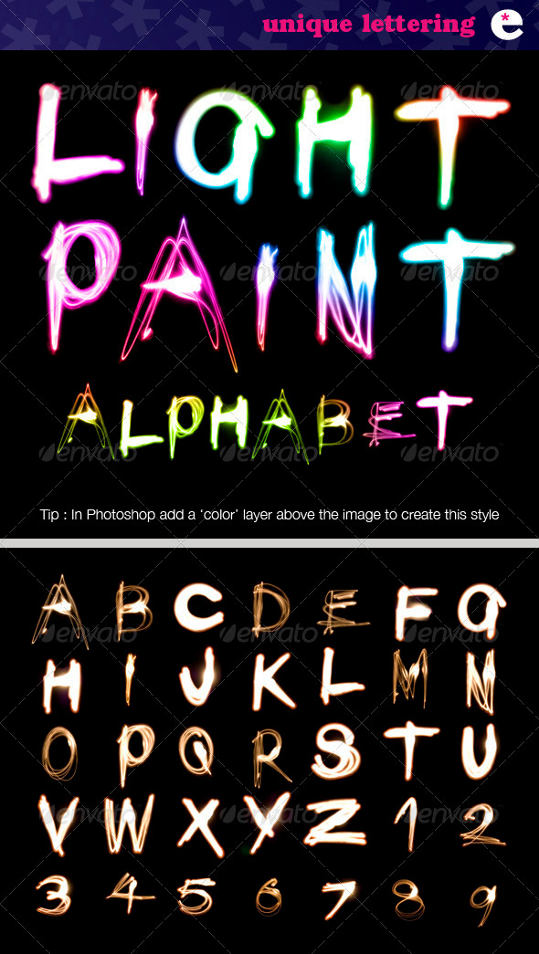 Light Painted Alphabet on Black - Miscellaneous Backgrounds