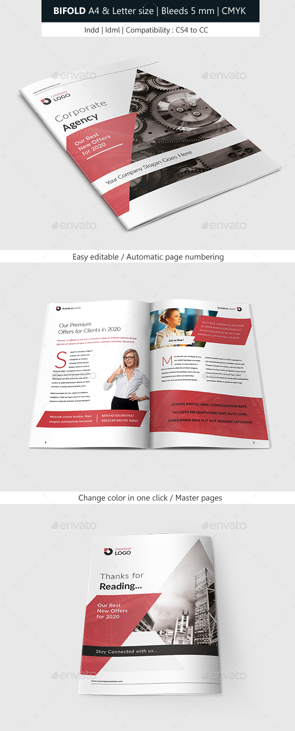 Bifold Brochure Corporate Indesign Template - Brochures Print Templates