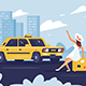 Person Catching Taxi on the Road Next to the City - GraphicRiver Item for Sale