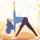 Young Girl Doing Yoga in a Park on City Background - GraphicRiver Item for Sale