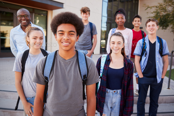 Portrait Of High School Students With Teacher Outside College Buildings - Stock Photo - Images