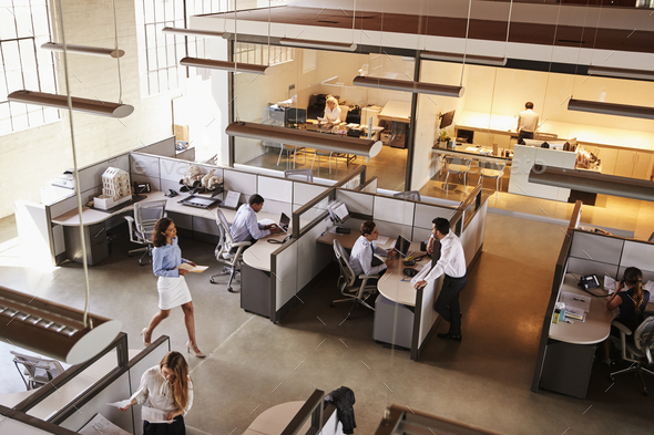 Elevated view of a busy open plan office - Stock Photo - Images