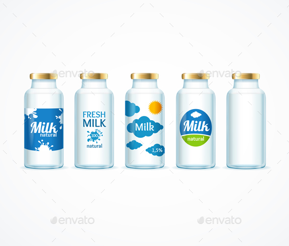 Realistic Detailed Milk Bottle Template Set - Food Objects