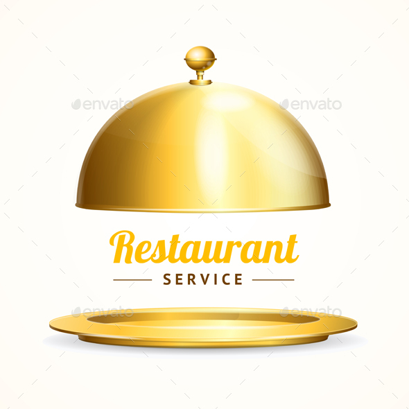 Realistic Detailed Shiny Golden Restaurant Cloche - Miscellaneous Conceptual