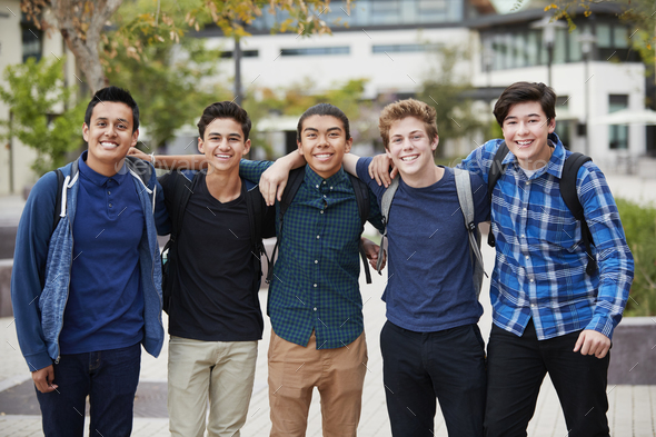 Portrait Of Male High School Students Outside College Buildings - Stock Photo - Images