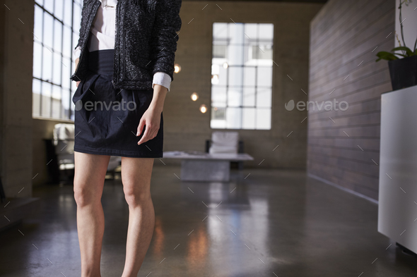 Mid section of businesswoman standing in a business foyer - Stock Photo - Images