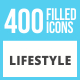 400 Lifestyle Filled Low Poly Icons - GraphicRiver Item for Sale