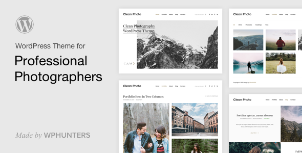 Clean Photo - Photography Portfolio WordPress Theme - Photography Creative