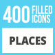 410 Places Filled Low Poly Icons - GraphicRiver Item for Sale
