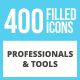 400 Professionals & their tools Filled Low Poly Icons - GraphicRiver Item for Sale