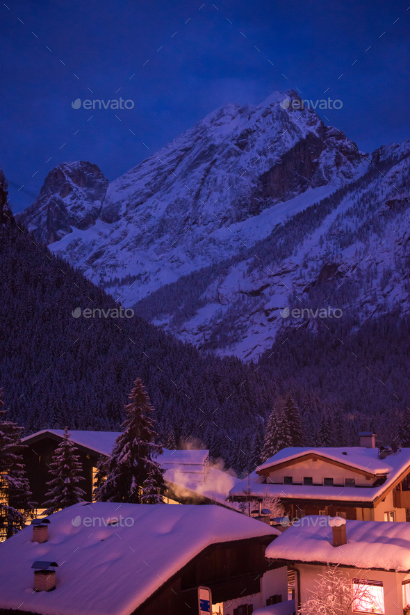 mountain village in alps  at night - Stock Photo - Images