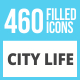 460 City Life Filled Low Poly Icons - GraphicRiver Item for Sale