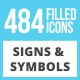 484 Signs & Symbols Filled Low Poly Icons - GraphicRiver Item for Sale