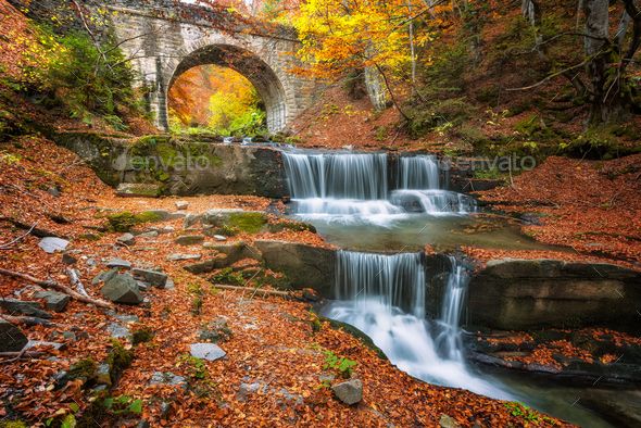 Autumn waterfall - Stock Photo - Images