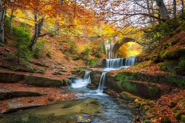Autumn waterfall - Stock Photo - Images