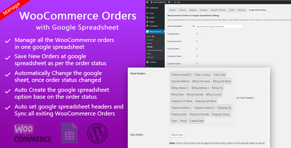 Manage WooCommerce Orders with Google Spreadsheet Free Download | Nulled