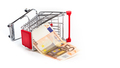 Shopping cart with 50 euro bill inside - PhotoDune Item for Sale