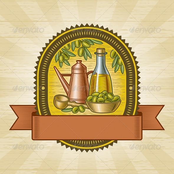 Retro Olive Harvest Label - Decorative Symbols Decorative