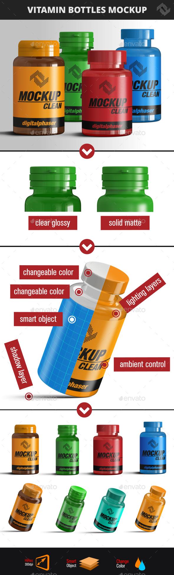 Vitamin and  Pill Bottles Mockup - Packaging Product Mock-Ups
