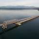 Aerial View Puget Sound Hood Canal Floating Bridge Crossing Olympic Mountains Background - PhotoDune Item for Sale