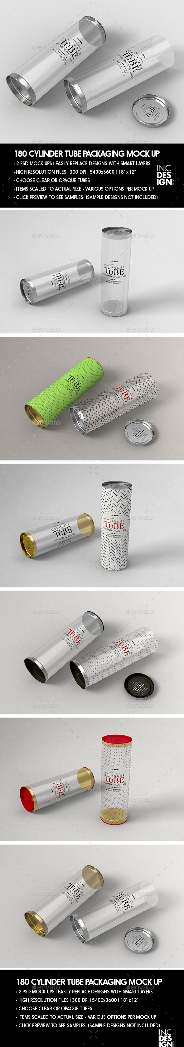 Cylinder 180mm PVC Tube Packaging with Metal Caps - Packaging Product Mock-Ups