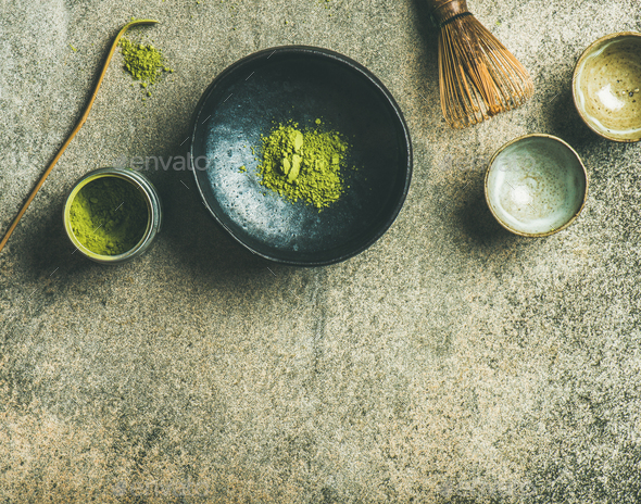 Japanese tools for brewing matcha green tea, grey concrete background - Stock Photo - Images
