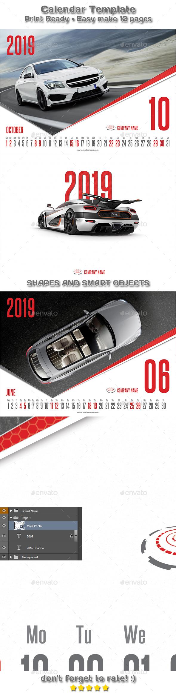 Modern Cars Calendar 2019 Template - Calendars Stationery