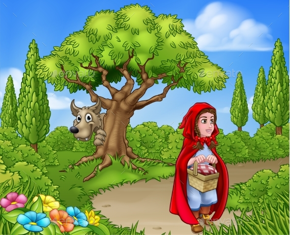 Little Red Riding Hood Fairy Tale Scene - Animals Characters