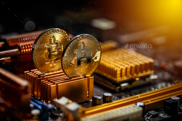 Gold bitcoin coin - Stock Photo - Images