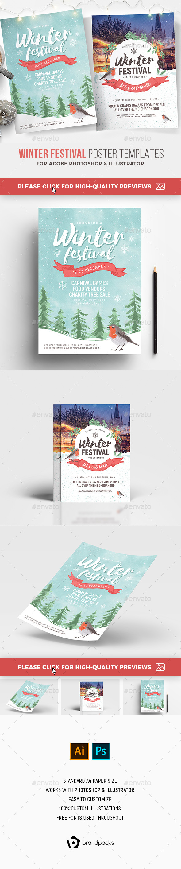 Winter Festival Poster / Flyer Template - Holidays Events