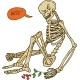 Sitting Skeleton with Flower - GraphicRiver Item for Sale