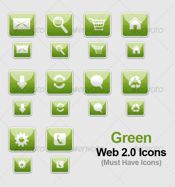 Green WEB 2.0 Icons - Web Icons