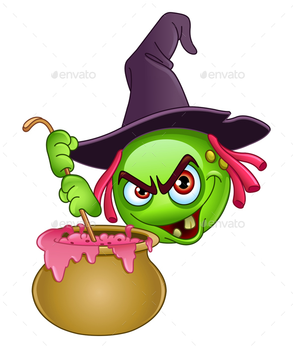 Witch Emoticon with Cauldron - Halloween Seasons/Holidays