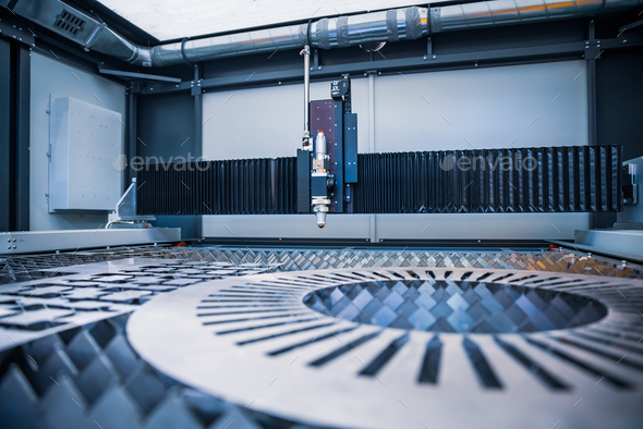CNC Laser cutting of metal, modern industrial technology. - Stock Photo - Images